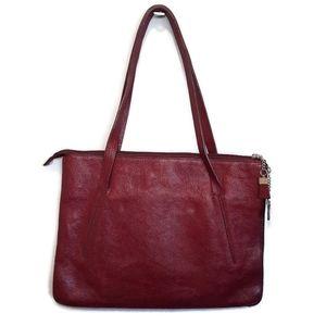 Expandable Faux Leather Laptop Bag Shoulder Purse Zip Around Vegan Burgundy Red